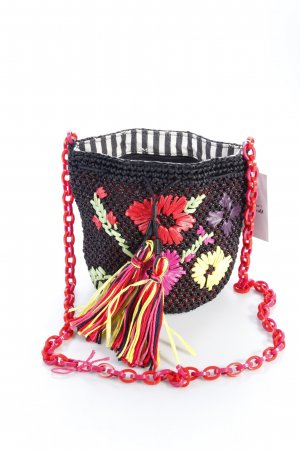 Missoni Umhängetasche Flower Embroidery Bucket Bag Black Bastoptik
