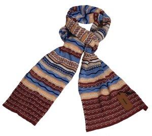 Missoni Winter-Schal, Zackenmuster in rotbraun/blau, 30x 180 cm