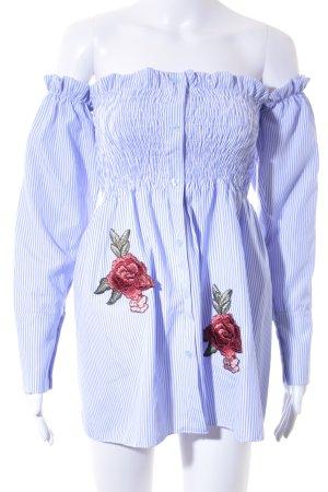 MissPap Carmen-Bluse weiß-blau Blumenmuster Casual-Look