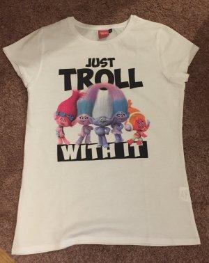Mister lady: Weißes Damen T-Shirt mit Trolls Print Gr. M NEU