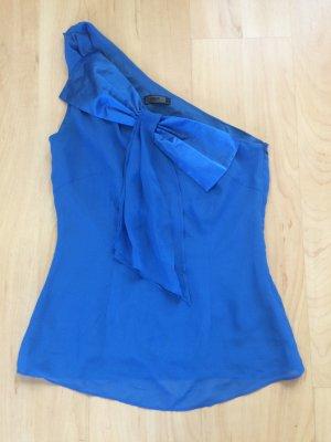 Mittelblaues One-Shoulder-Top mit Schleife