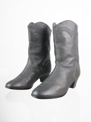 Mittelgraue Vintage Echtleder Boots 38,5