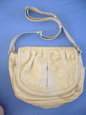 Mittelgroße Tasche Zara beige silberne Reißverschlüsse