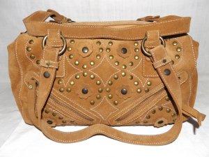 Mittelgroße Wildledet Tasche  in Cognac, mit integrierte Brieftasche, NEU. Made in Italy.