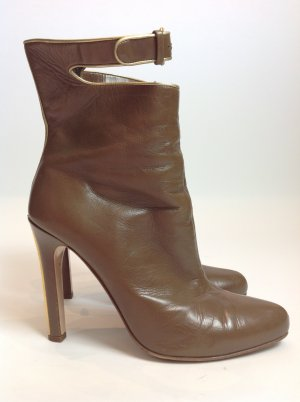 Miu Miu Peep Toe Booties light brown leather