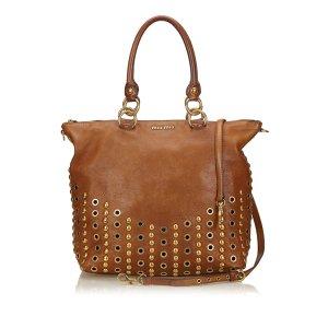 Miu Miu 2 Way Studded Leather Handbag