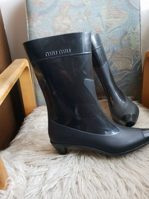 Miu Miu Lace-up Booties black
