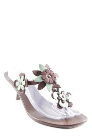 Miu Miu Absatz Pantoletten dunkelbraun-blassgrün Blumenmuster Casual-Look