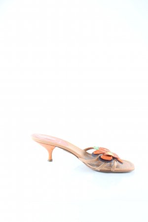 Miu Miu Sandalo con tacco marrone chiaro-arancione look retrò