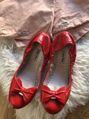 Miu Miu Patent Leather Ballerinas red