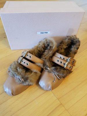 Miu Miu Strappy Ballerinas light brown