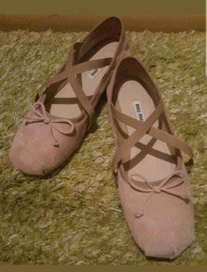 Miu Miu Ballerines à lacets crème-rose chair