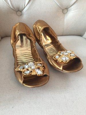 Miu Miu Ballerinas in Gold mit Steinen