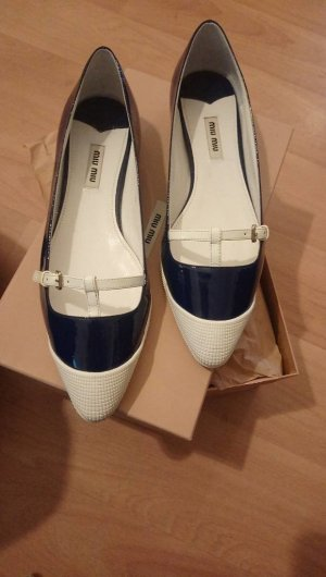 Miu Miu Patent Leather Ballerinas white-dark blue