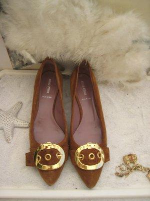 Miu Miu Bezaubernde Ballerinas Karamell & Honig golden Luxus Pur NP 520 € Top wie Neu