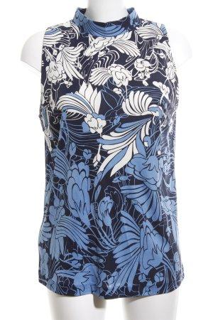 Miu Miu Blusentop blau-weiß Blumenmuster Casual-Look