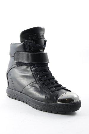 Miu Miu Booties schwarz-silberfarben Casual-Look