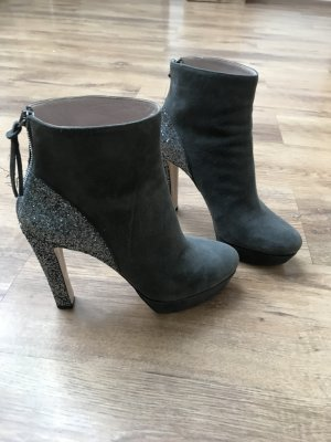 Miu Miu Boots grau 40 Wildleder Glitzer Luxus Stiefeletten