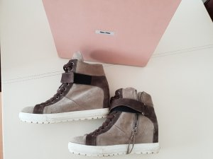 Miu Miu Brown Suede Concealed Wedge Sneakers 40