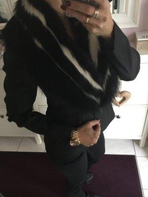 Miu Miu by Prada Blazer Jacke Pelzbesatz XS 34 Denim Jeans schwarz