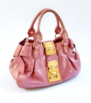 Miu Miu Bolso de bolos rosa-color oro Cuero