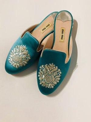 Miu Miu Heel Pantolettes turquoise textile fiber