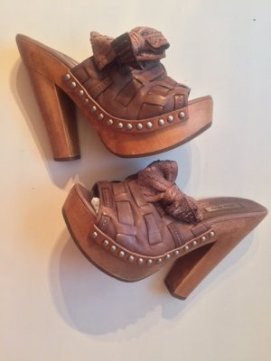 Miu Miu Heel Pantolettes brown leather