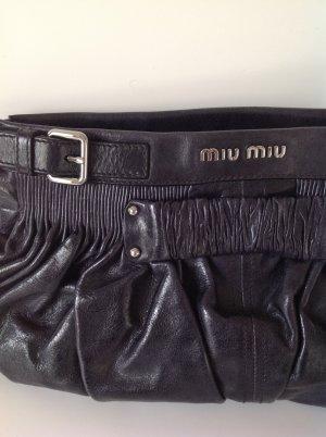 Miu Miu Pochette bleu foncé cuir