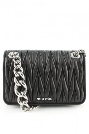 Miu Miu Mini Bag black-silver-colored leather