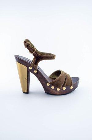 MIU MIU Damen High Heel Clogs Sandale Samt Oliv Gold Metall Braun Nieten Gr.36,5