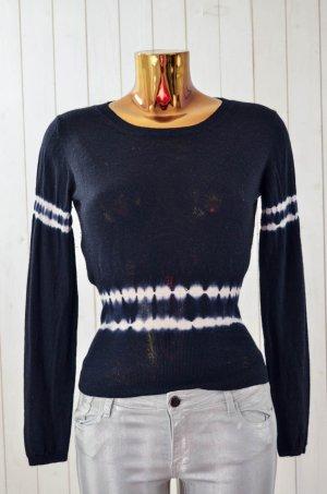 MIU MIU Damen Pullover Cashmere Seide Schwarz Blau Ecru Batik Gr.ital.40/ dt.34