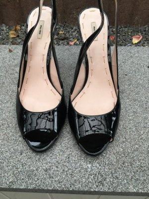 Miu Miu Peep Toe Pumps black leather