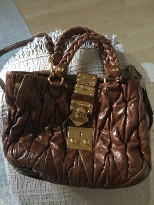 Miu Miu Sac à main brun-bronze cuir