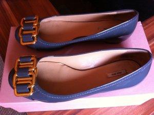 Miu Miu Patent Leather Ballerinas anthracite leather