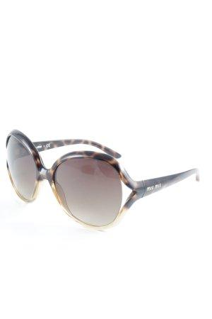 Miu Miu eckige Sonnenbrille hellbraun-schwarz Animalmuster schlichter Stil