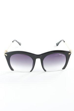 Miu Miu Hoekige zonnebril zwart-goud extravagante stijl