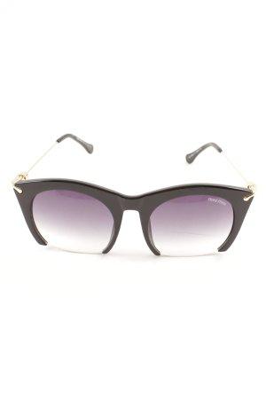 Miu Miu eckige Sonnenbrille schwarz-goldfarben extravaganter Stil
