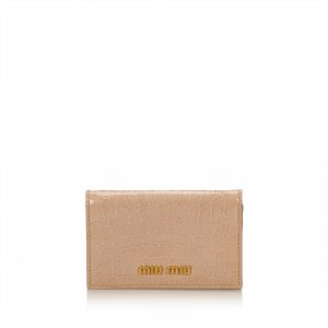 Miu Miu Embossed Leather Patent Leather Card Colder