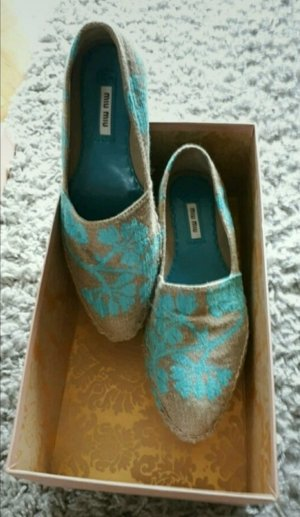 Miu Miu Espadrille Sandals light brown-blue