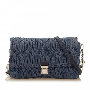 Miu Miu Gathered Denim Shoulder Bag