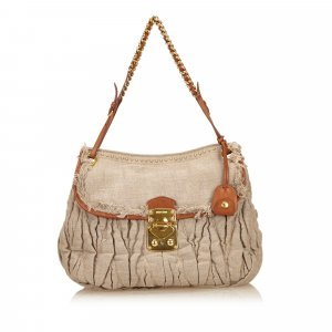 Miu Miu Gathered Hemp Shoulder Bag
