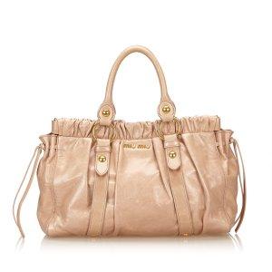 Miu Miu Gathered Leather Tote Bag