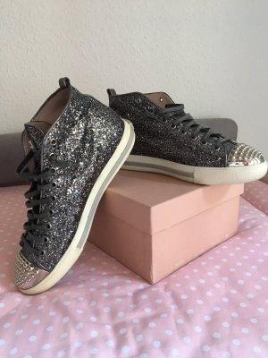 Miu Miu Glitter Sneaker Anthrazit Größe 39