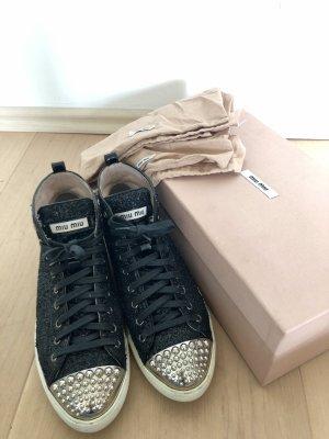 Miu Miu Glitzer Sneaker mit Nieten Gr. 37.5