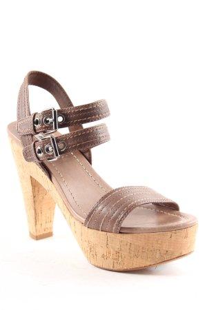 Miu Miu Sandaletto con tacco alto marrone-grigio-color cammello stile spiaggia