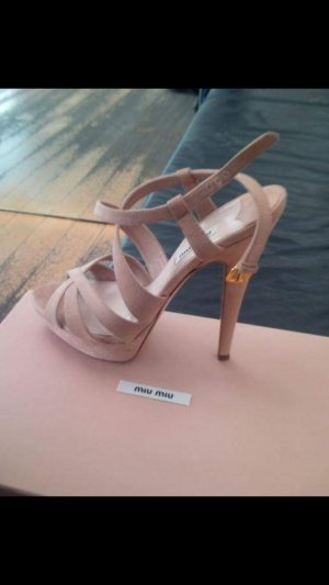 Miu Miu Strapped High-Heeled Sandals rose-gold-coloured-dusky pink leather