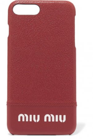 Miu Miu iPhone Case aus Leder iPhone 8 Plus Lederhülle Rot Miu Miu Logo