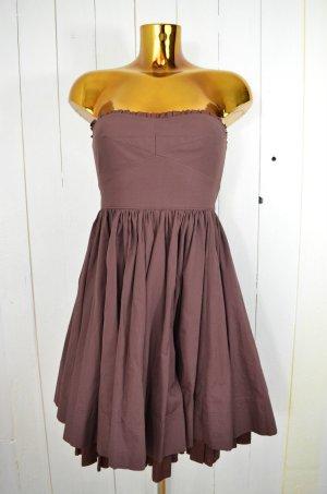 MIU MIU Kleid Cocktailkleid Schulterfrei Tubetop Braun Dunkelbraun Baumwolle 36