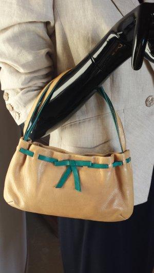 Miu Miu, kleine Handtasche hellbraun, blaugrüne Details