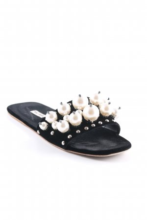 "Miu Miu Komfort-Sandalen ""Flat Sandals With Pearls Black"" schwarz"
